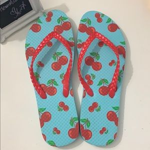 Cherry teal flip flops